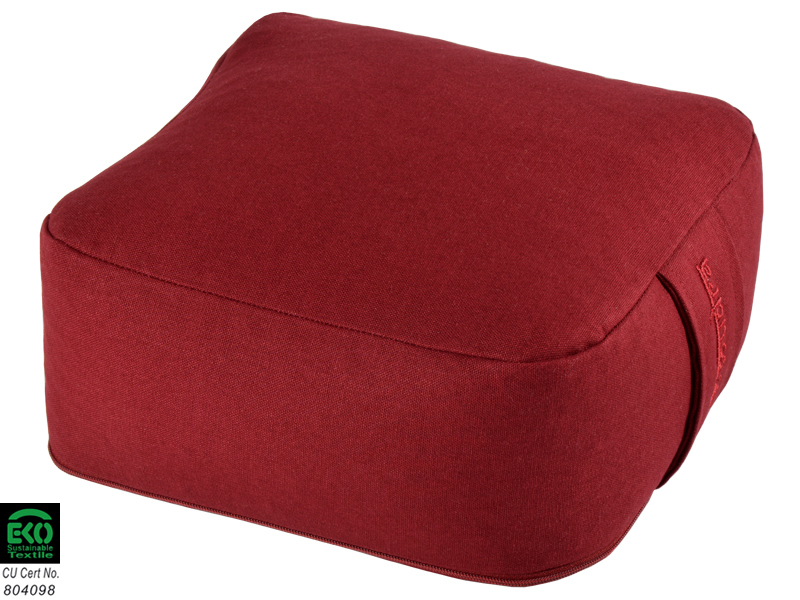 coussin de m ditation carr bio bordeaux chin mudra. Black Bedroom Furniture Sets. Home Design Ideas