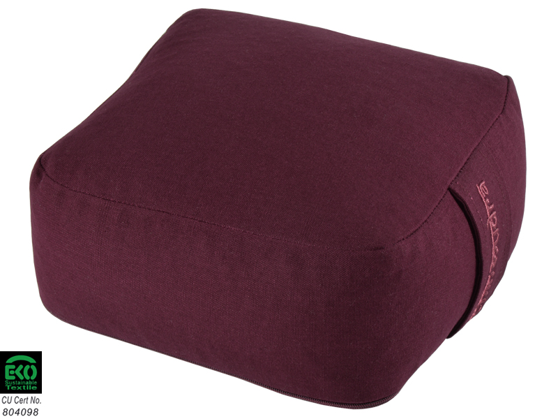 coussin de m ditation carr bio prune chin mudra sas france accessoires yoga. Black Bedroom Furniture Sets. Home Design Ideas