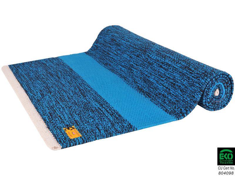 tapis de yoga taj 100 coton bio 2 m x 66 cm x 5mm bleu noir chin mudra sas france. Black Bedroom Furniture Sets. Home Design Ideas
