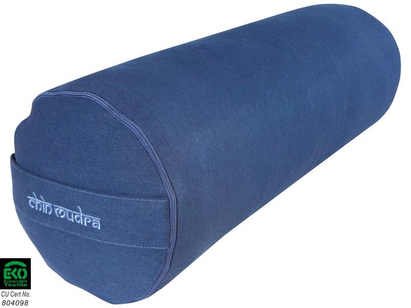 Bolster de yoga 100 % coton Bio 65 cm x 21 cm Bleu - Zafus bf97659f155