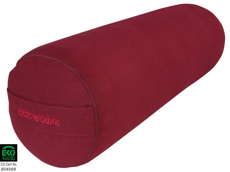 Bolster de yoga 100 % coton Bio 65 cm x 21 cm Bordeaux - Zafus ... 626518ee92b
