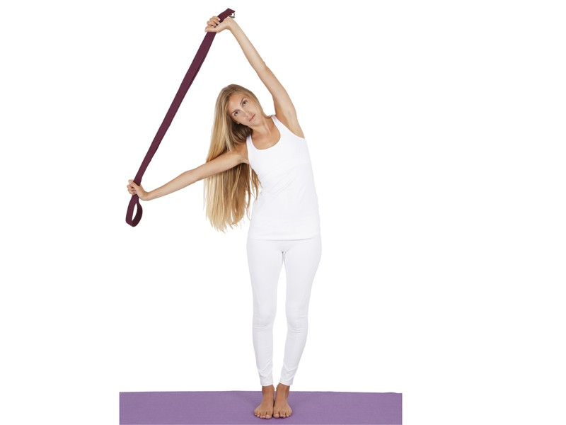 Sangle de yoga 100% coton Bio boucle 1/2 lune Blanche