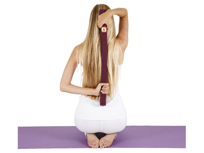 Sangle de yoga 100% coton Bio boucle 1/2 lune Prune