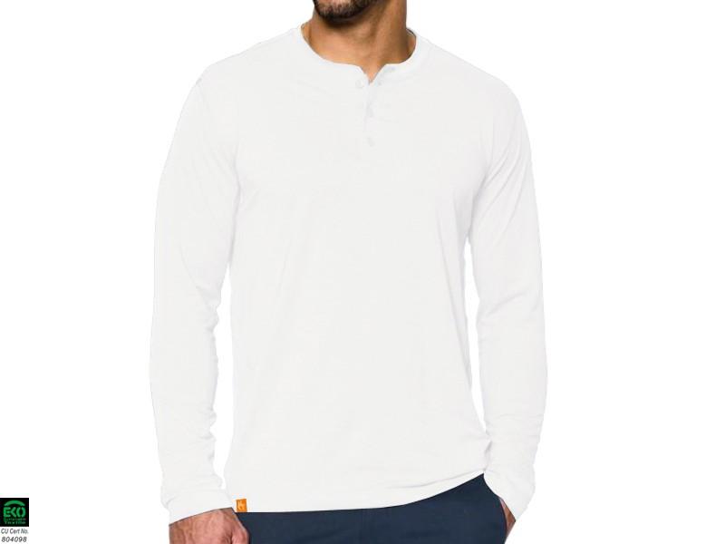 a58abcc98d931 T-shirt Manches longues 100% coton Bio Col 3 Boutons - Blanc ...