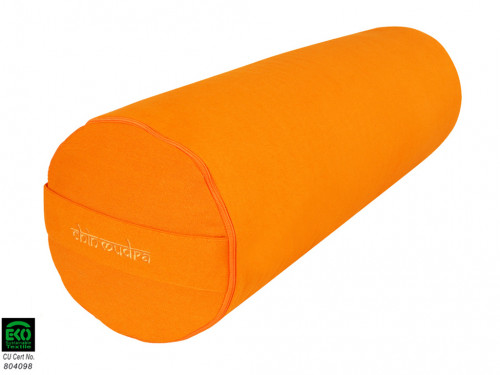 Article de Yoga Bolster de yoga 100 % coton Bio 65 cm x 21 cm Orange Safran