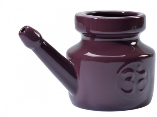 Article de Yoga Lota Om en porcelaine émaillée 400ml Prune