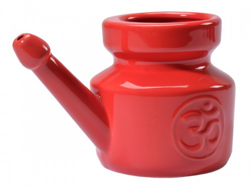 Article de Yoga Lota Om en porcelaine émaillée  Red Chili Pepper 400ml