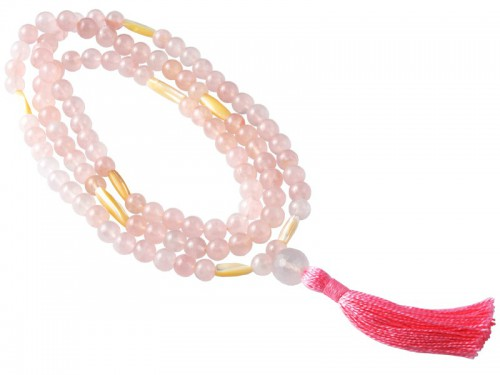 Mala 108 perles 8mm - Quartz Rose & Nacre