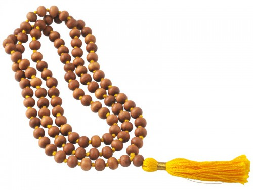 Mala 108 perles 8mm Santal/Jaune