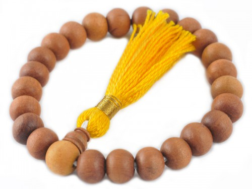 Mala 27 perles - Santal 8mm/Jaune