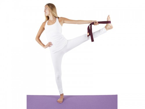 Article de Yoga Sangle de yoga 100% coton Bio boucle 1/2 lune Bordeaux