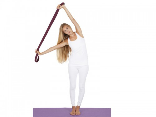 Article de Yoga Sangle de yoga 100% coton Bio boucle 1/2 lune Noir