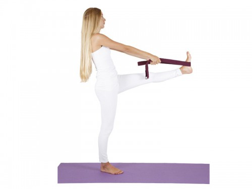 Article de Yoga Sangle de yoga 100% coton Bio boucle 1/2 lune Prune