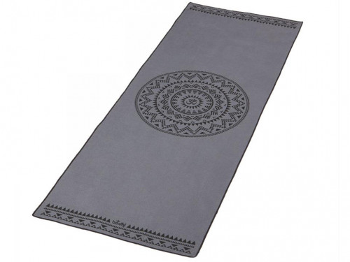 Article de Yoga Serviette de Yoga anti-dérapante - 185cmx 65cm Mandala Gris