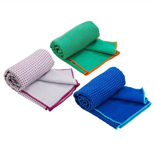 Article de Yoga Serviette de Yoga anti-dérapante bicolore - 183cmx 60cm Bleu/Aqua