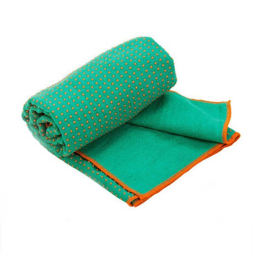 Serviette de Yoga anti-dérapante bicolore - 183cmx 61cm Vert/Orange