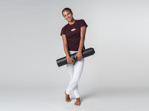 Article de Yoga T-shirt manches courtes Lotus - coton Bio Prune