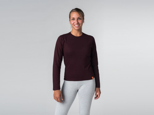 Article de Yoga T-shirt manches Longues 100% Bio Prune