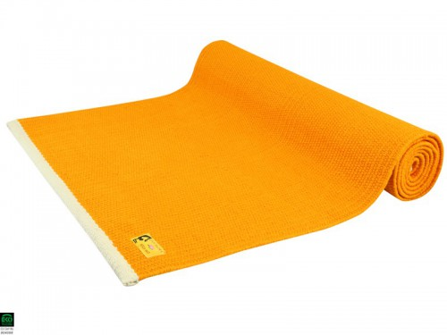 Tapis de yoga Taj 100% coton Bio 2 m x 66 cm x 5mm Orange Safran