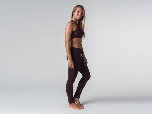 Article de Yoga Yoga Legging 95% coton Bio et 5% Lycra Prune
