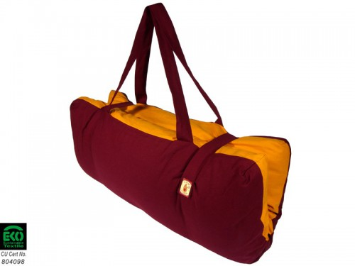 Article de Yoga Zabuton transportable 100% coton Bio Bordeaux & Safran